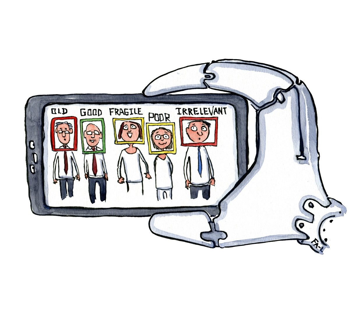 illustration of robot hand with smart phone with portraits, face recognition of people evaluating them. drawing by Frits Ahlefeldt
