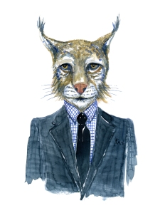 Lynx in clothingFashion watercolor painting of animal in suit by Frits Ahlefeldt
