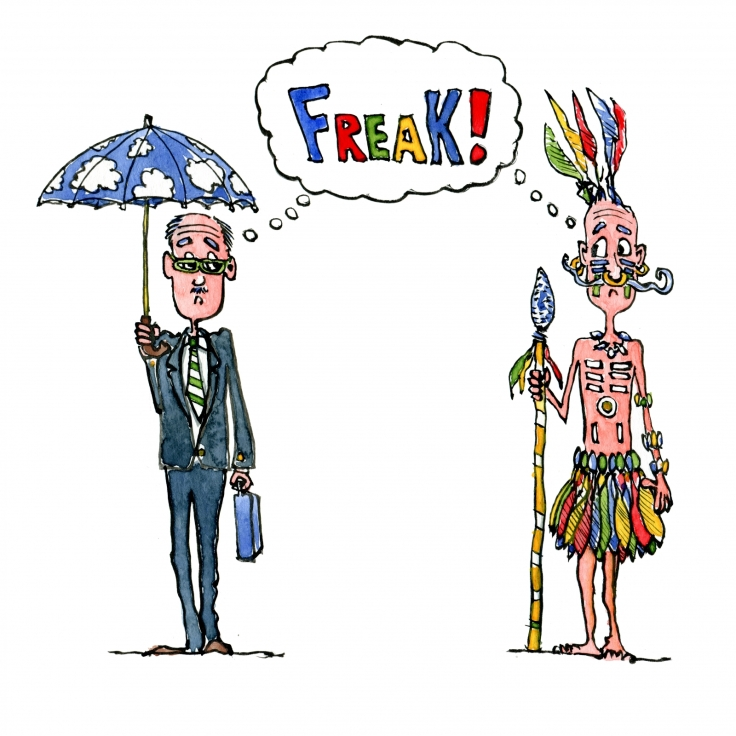 """Drawing of an British Gentleman and an tribal chief meeting and thinking """"freak"""""""