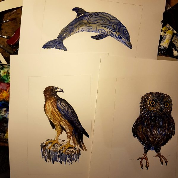 three watercolours by Frits Ahlefeldt