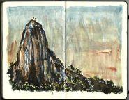 Fast concept sketch, Mountain scene