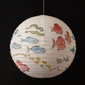 Painting on rice paper lamp, sphere artwork by Frits Ahlefeldt