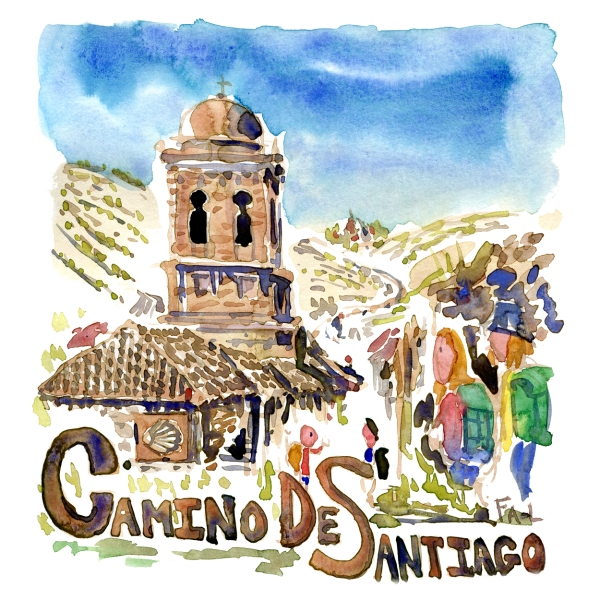 Watercolor of the Camino De Santiago, painting by Frits Ahlefeldt