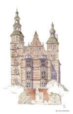 Royal Castle Copenhagen Watercolor painting by Frits Ahlefeldt