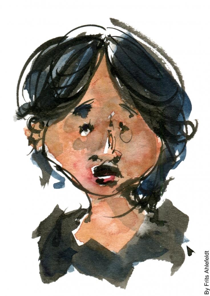 Drawing of asian girl