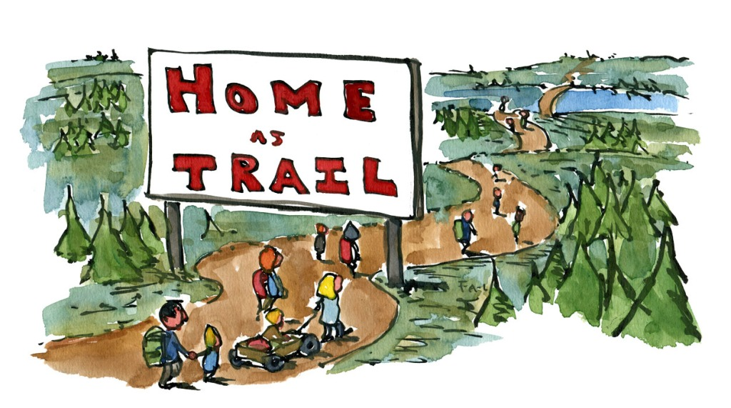 People walking past  trail as home sign. drawing by Frits Ahlefeldt