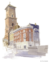 Old City square with the central church. Copenhagen Watercolor painting by Frits Ahlefeldt