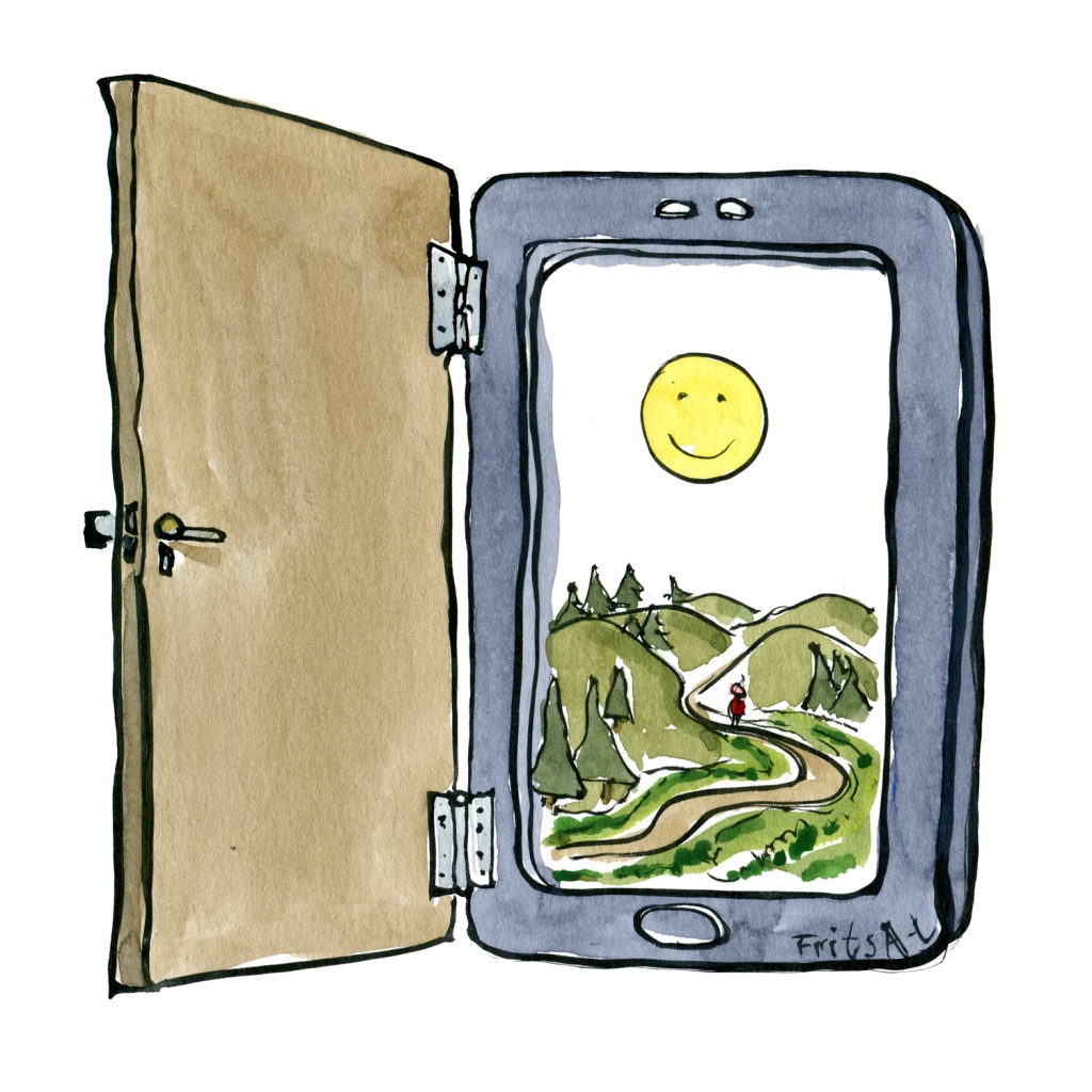 smartphone with a door attached. Drawing by Frits Ahlefeldt - technology