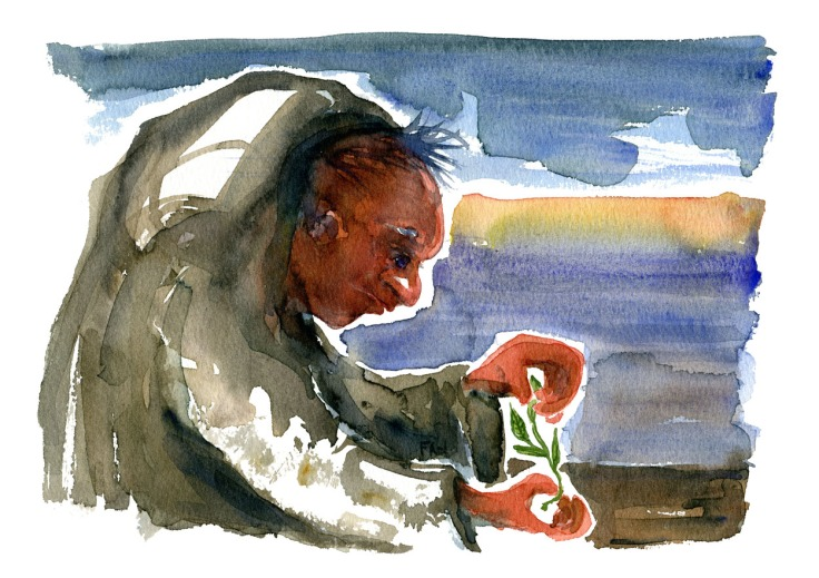 Monk like character, looking at a plant, Watercolor by Frits Ahlefeldt