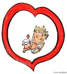 Drawing of love, small guy with bow and arrows, in a heart