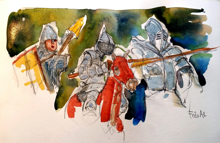 Watercolor sketch of an knight in armor