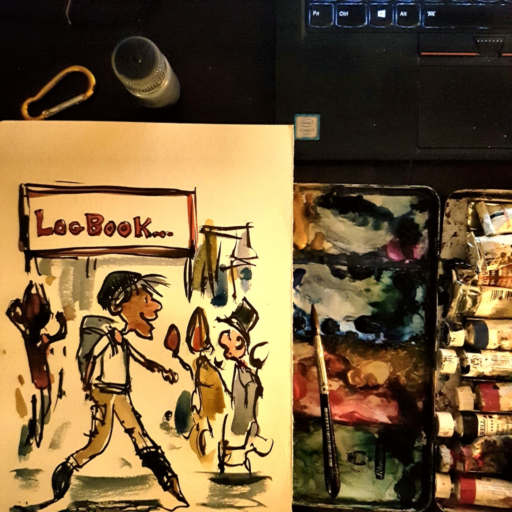 Logbook sketch of guy walking through city
