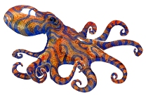 Watercolor of blue striped red octopus creature