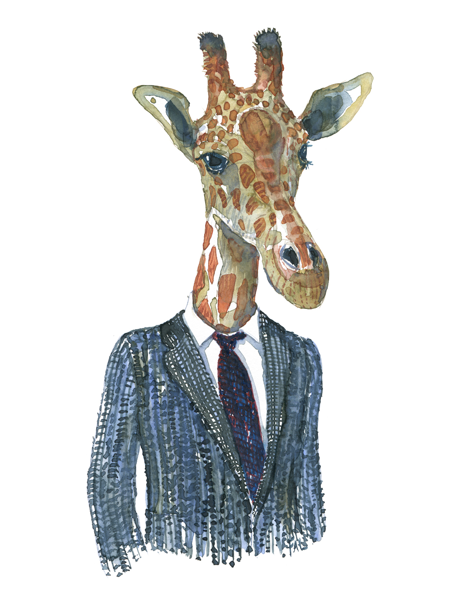 Giraffe in jacket. Watercolor painting of animal in suit by Frits Ahlefeldt