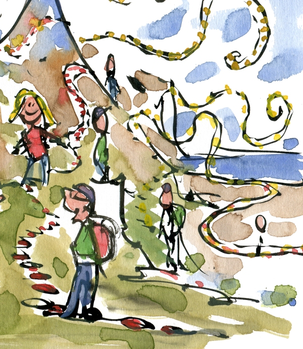 Drawing of hikers standing on trails in a landscape, drawing by Frits Ahlefeldt