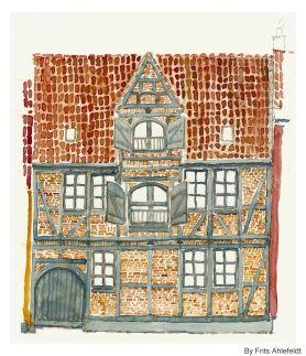Old house, 2. version, Watercolor from Christianshavn, Copenhagen, Denmark