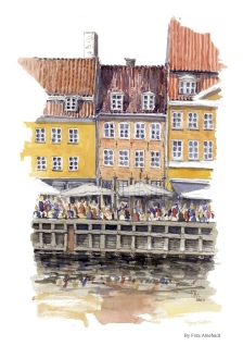 Cafees Copenhagen Watercolor painting by Frits Ahlefeldt