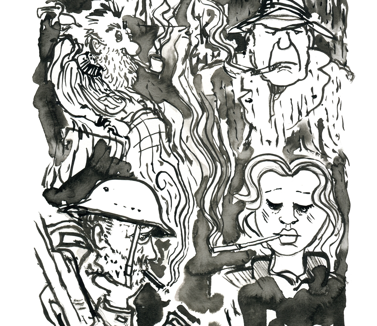 Four smokers illustration by Frits Ahlefeldt