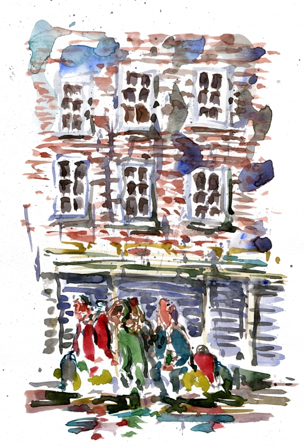 Watercolor sketch of a group of men in Copenhagen, in the rain