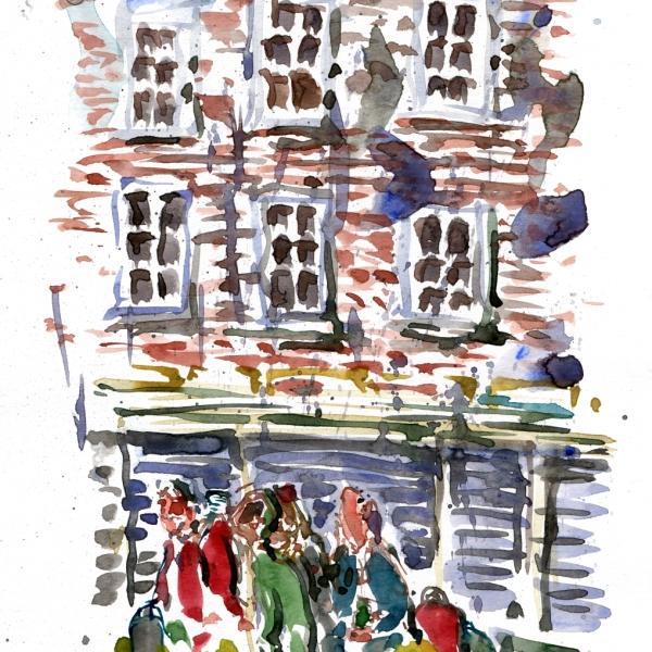 Watercolor sketch of a group of men in Copenhagen, in the rain