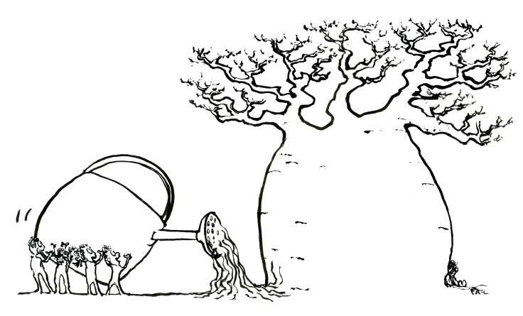 Black and white illustration of Baobab tree and people watering it, illustration by Frits Ahlefeldt