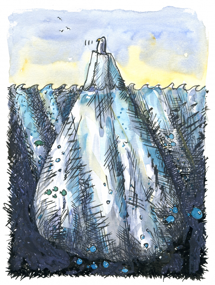 illustration of a penguin out on open sea, on an iceberg