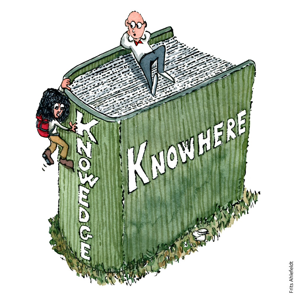 "Drawing of a man sitting on top of a thick book with the title ""knowhere"" and a woman with backpack climbing the edge where the title is ""knowedge"". Illustration by Frits Ahlefeldt"