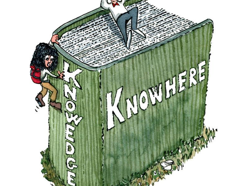 """Drawing of a man sitting on top of a thick book with the title """"knowhere"""" and a woman with backpack climbing the edge where the title is """"knowedge"""". Illustration by Frits Ahlefeldt"""