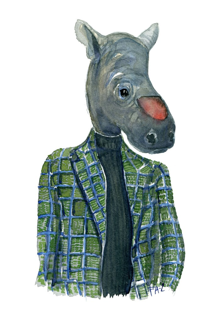 Watercolor of a de-horned rhinoceros in clothes, art by Frits Ahlefeldt