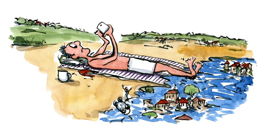 Man on the beach with his smartphone while the coast is getting flooded. Drawing by Frits Ahlefeldt