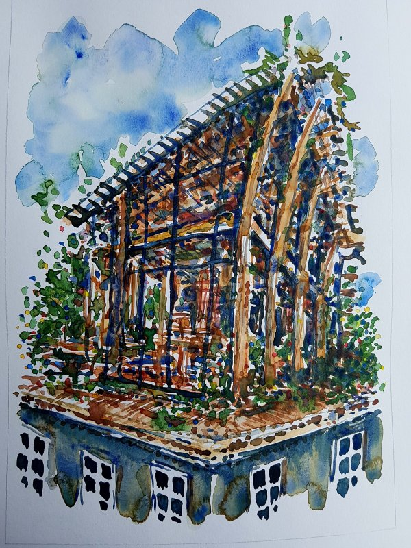 Watercolour of a little wood house on top of a building