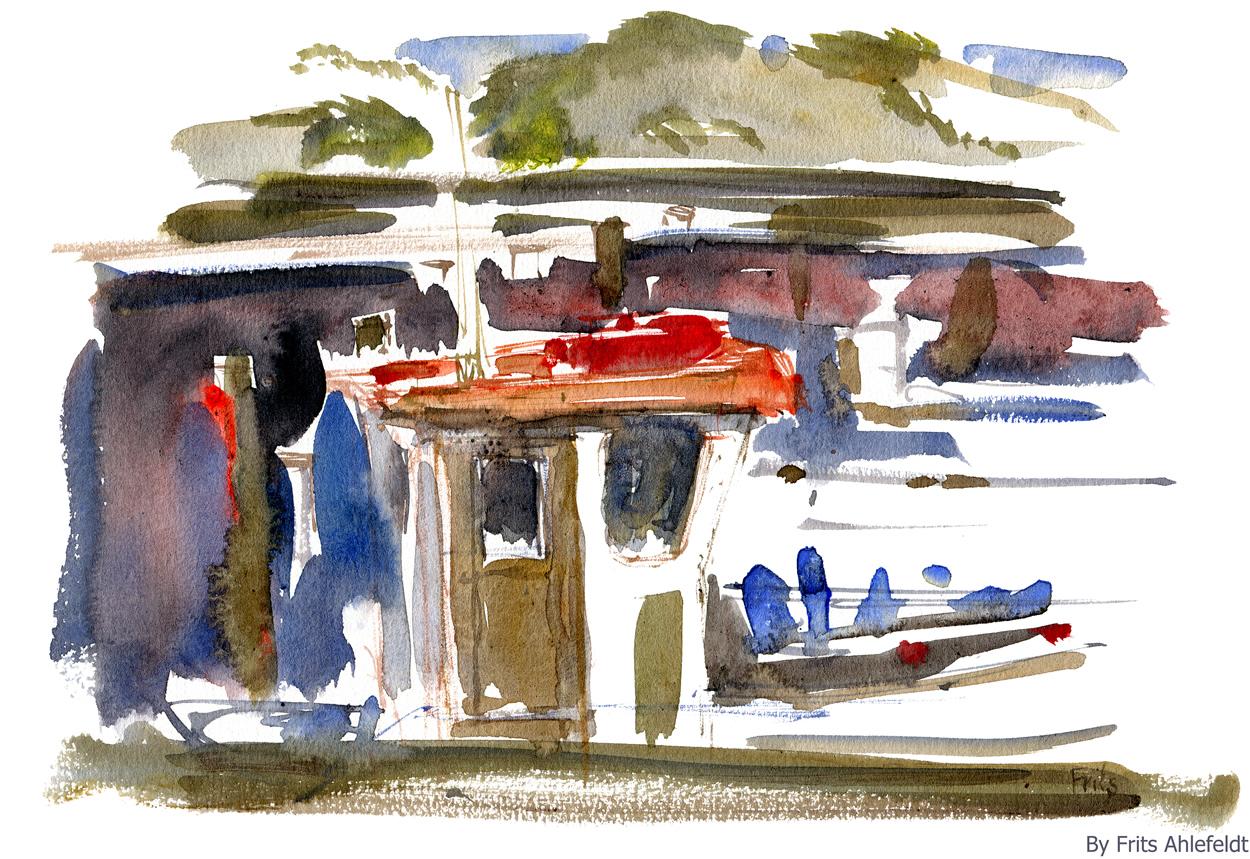watercolor of fishingboat in harbour