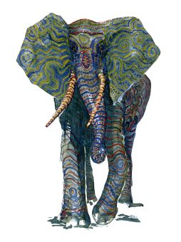 Front facing green elephant