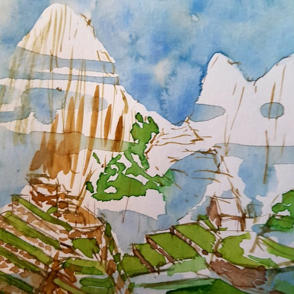 Watercolor of Machu Picchu in progress, by Frits Ahlefeldt
