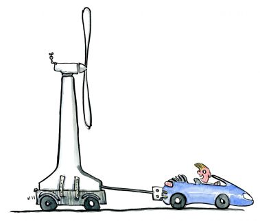 Drawing of a car dragging a wind mill