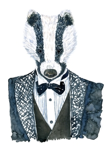 Badger in a tuxedo suit Fashion watercolor painting of animal in suit by Frits Ahlefeldt