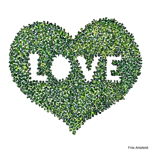 Drawing of heart made up of leaves