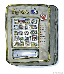 illustration of a vending machine where you pay with likes