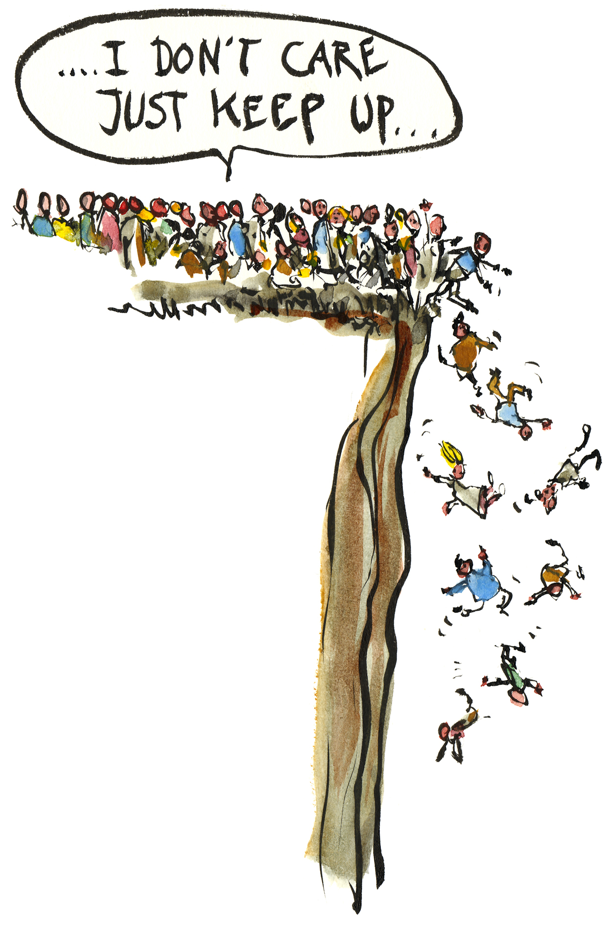 Drawing of people drawing out over an edge