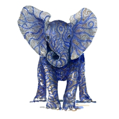 Watercolor by Frits Ahlefeldt of Blue tribal elephant