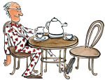 Old man, in love, sitting drinking tea