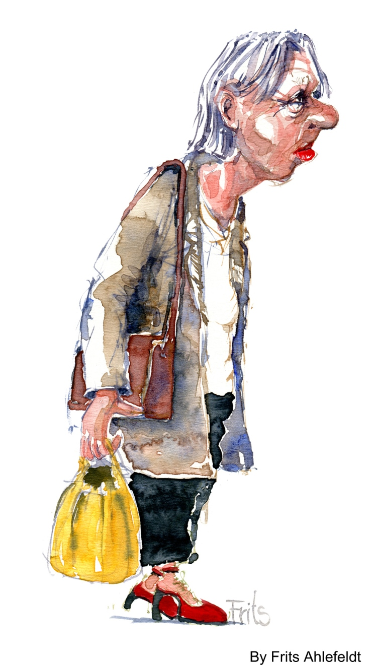 Watercolor of old woman, by Frits Ahlefeldt