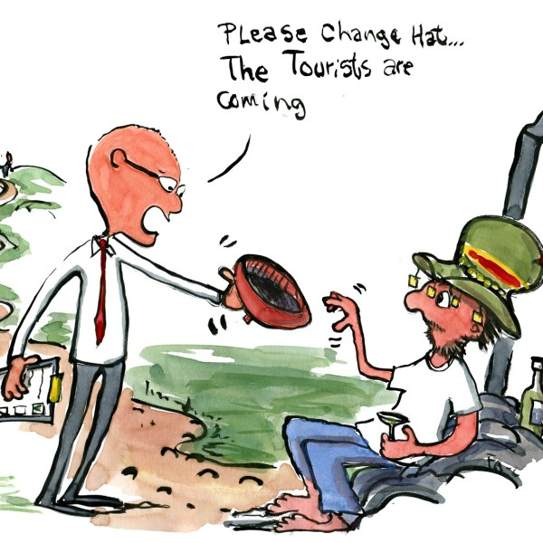 Tourism expert man telling one of the locals to change his hat. illustration by Frits Ahlefeldt