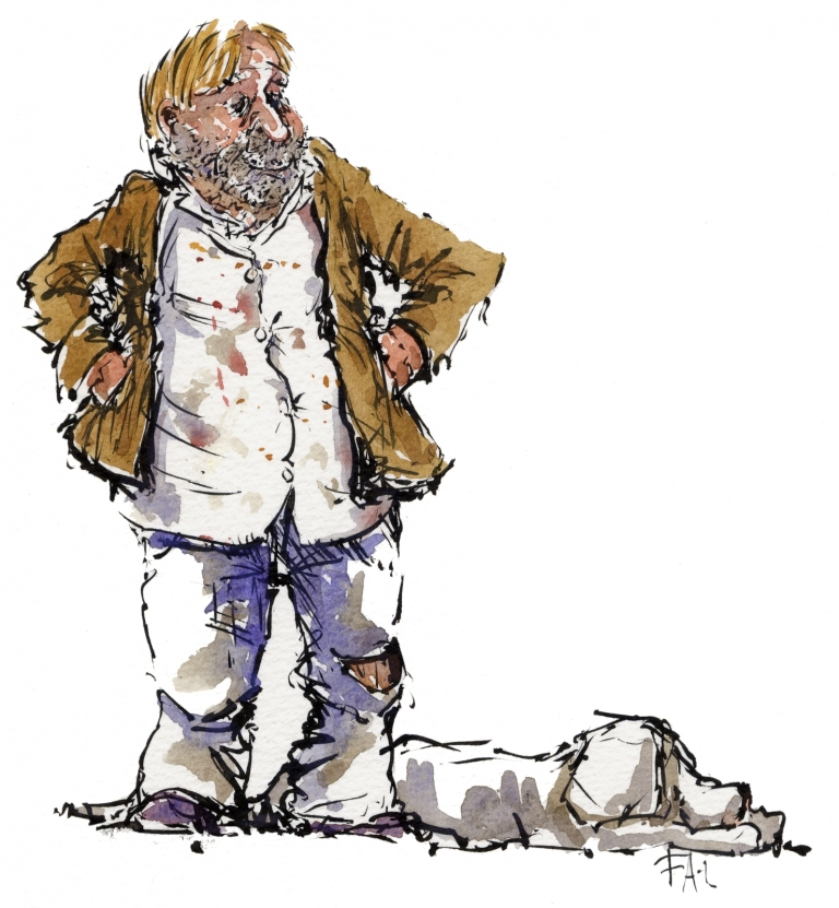 Drawing of a man with a dog, sketched from the streets
