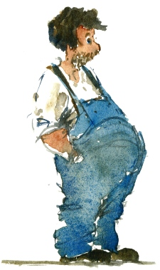 Guy in overall, watercolor