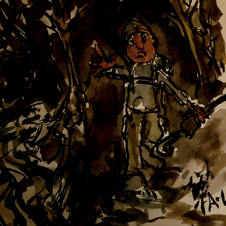 illustration of hiking in the dark