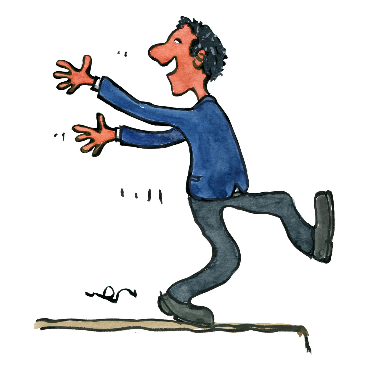 illustration-man-walking-forward-edge-looking-back-drawing-by-frits-ahlefeldt  – Frits Ahlefeldt – FritsAhlefeldt.com