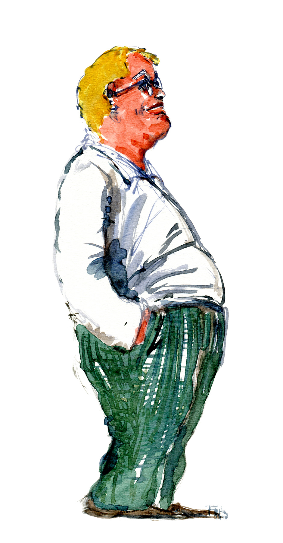Fat man standing. Watercolor