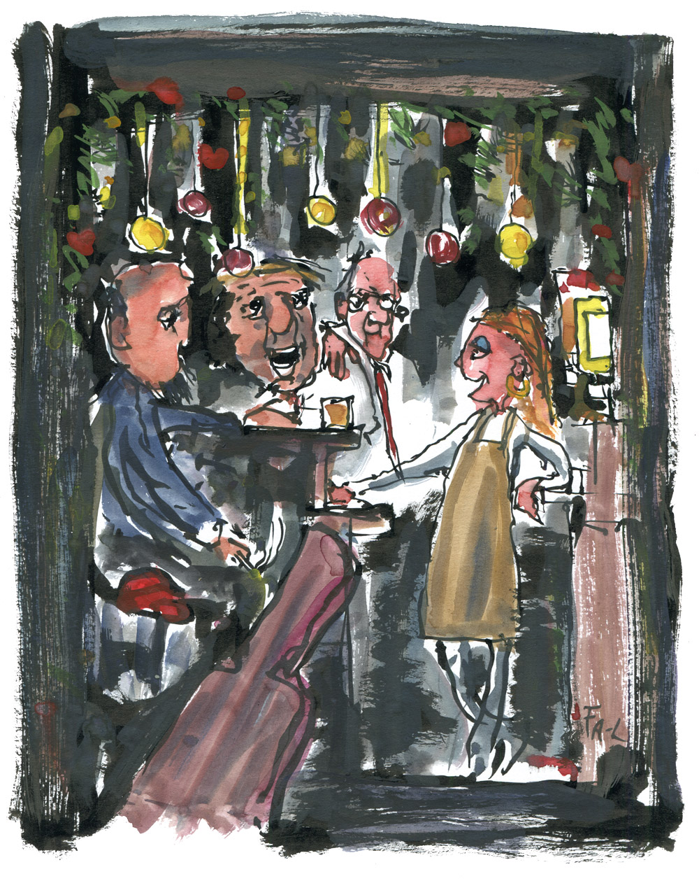 People in an old cafe' Sketch by Frits Ahlefeldt