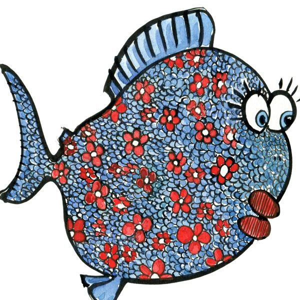 Drawing of a blue fish with red Flowers